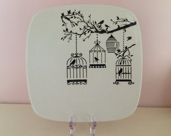 Hand Painted Ceramic Square Sushi Plate - Vintage Bird Cage Design
