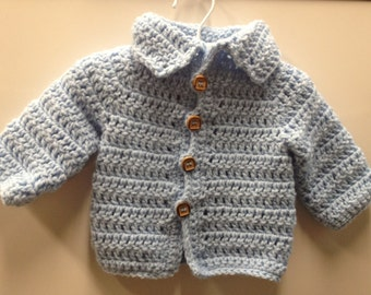 Handmade Crocheted Blue Sweater with Collar