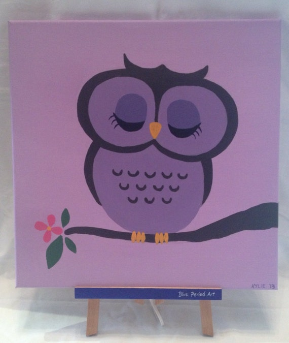 Purple owl cartoon