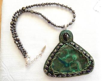 Statement Beadwork  Bead Embroidery Malachite & Hemalyke Magnetic Bead Necklace