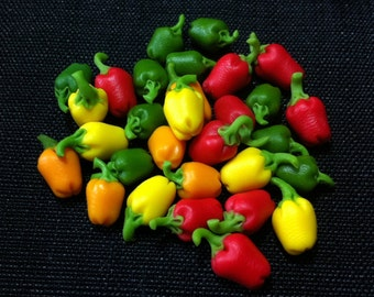 20 Miniature Mix Bell Peppers Clay Polymer Red Green Yellow Vegetables Veggies Cute Little Small Dollhouse Supplies Food Jewelry Beads 1/12