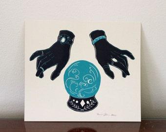 Crystal Ball Linocut Print