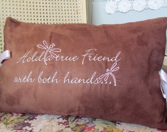 Embroidered Friendship Pillow