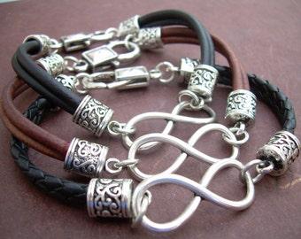 Infinity Bracelet, Leather  Bracelet,  Mens Bracelet,  Womens Bracelet, Mens Jewelry, Womens Jewelry, Infinity