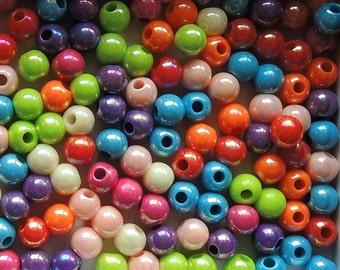 100Pcs  Mixed Color Metallic Acrylic Beads -6mm (S010)