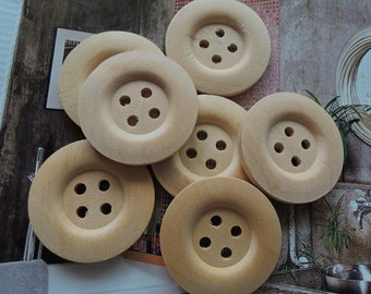 12Pcs  35mm Unfinished Natural  Wood button 4 holes No varnish  for your handmade ( W151)