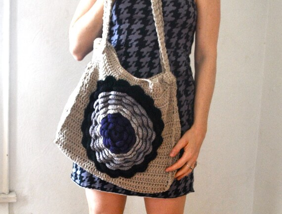 Crochet Hippie Bag : Bohemian Hippie Crochet Womens Bag Purse Handmade Cotton Wool Yarn ...