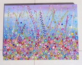 REDUCED PRICE  Blues and Mauves Flower Meadow 61 x 45cm