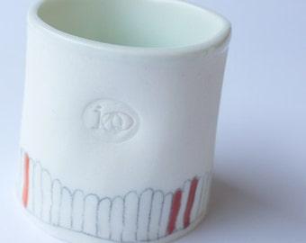 sea blue - fronds - porcelain vessel no.1