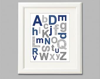 Navy and gray alphabet nursery Art Print - 8x10 - Children wall art, Baby Room Decor - UNFRAMED