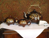 Moriage, Redware Glazed Brown Tea Pot Set from Japan - FondestMemories