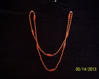 Tangerine Plastic Necklace #10