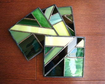 Green Hand-Crafted, Stained Glass Coasters by Krista