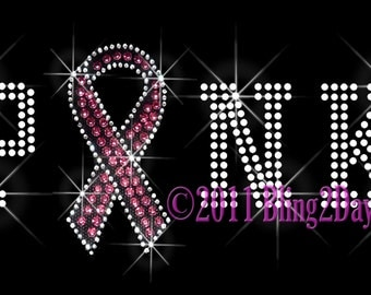 PINK Letter - Breast Cancer Ribbon - Iron on Rhinestone Transfer Bling Hot Fix - Awareness Applique - DIY