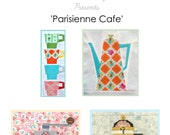 Parisienne Cafe: 4 Paper Piecing Patterns Cafe theme Instant Download PDF Black Friday discount 20%