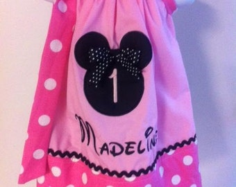 minnie pillowcase dress with a number