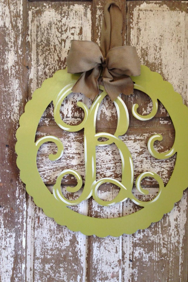 Monogrammed Wooden Wreath Initial Door Hanger Custom Wall