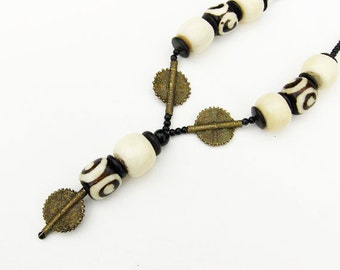 African Mud Beads with Benin Bronze Necklace Handcrafted