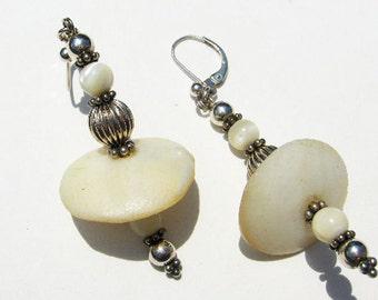 Mother of Pearl Bali Beads Dramatic Drop Earrings