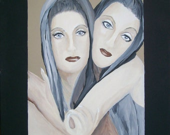 Sisters No. 2 Hand Painted Original Acrylic by