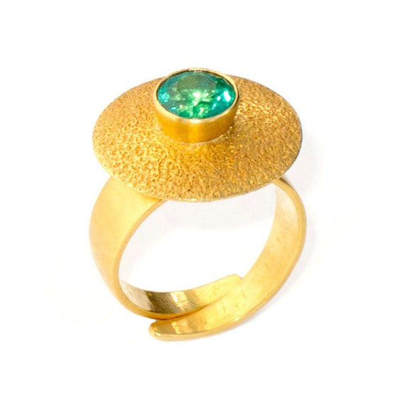Ring with Emerald, Size 7 - 8 adjustable