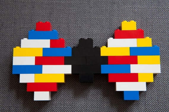 Colourful geek bowtie made of Lego pieces - more geeky and hipster accessories in my shop - bow tie original classic color