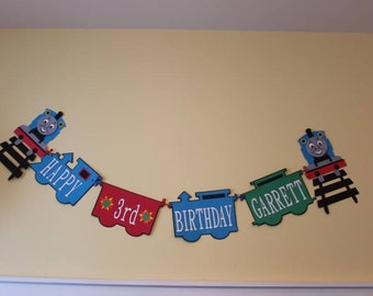 Personalized Thomas the Train/ tank engine birthday banner.