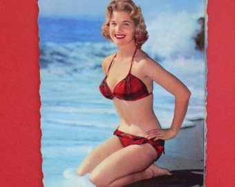 Vintage Pin Up Girl Beach Photo postcard France 1950's - 2
