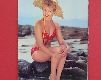 Vintage Pin Up Girl Beach Photo postcard France 1950's - 5