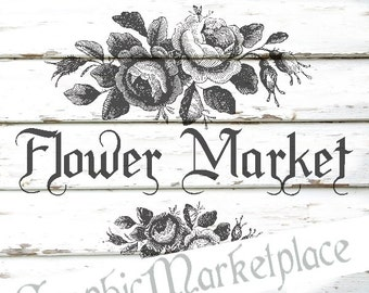 Flower Market Shabby Transfer Pillow Instant Download Burlap digital graphic printable No. 281