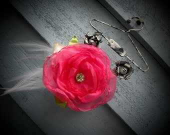 Handmade Handsewn Pink Fabric Flower Pin Hair Accessory Organza & Rhinestone
