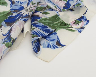 Silk Scarf Vintage Floral Blue and White Botanical Womens Scarves Vintage Echo Free Shipping