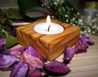 Olive wood tealight candle