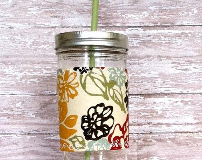 Mason Jar Tumbler 24oz Mustard Red Brown Floral Insulated Cozy BPA Free Straw -Eco Friendly Travel Mug Great Gift
