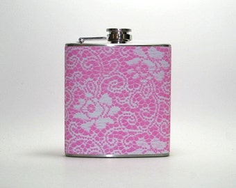 PInk Lace Flowers 4, 6 or 8 oz Size Stainless Steel Liquor Hip Flask Flasks Weddings Bridesmaids Gift Idea