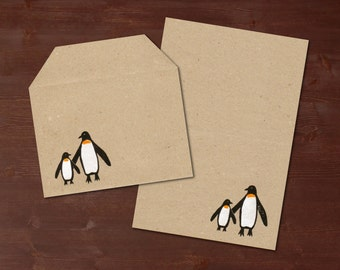 Penguins - handprinted stationery // recycling paper