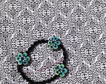 black teal green flower bead braclet