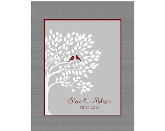 Personalized Wedding Tree Art. Love Birds in a Tree, Established Date, Fully Customizable, Wedding Couple Tree Art Print