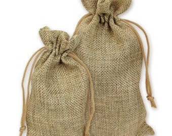 4x6 Burlap Draw String Pouches, 12 bags per order