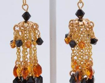 Earring with Topaz and Jet Black Swarovski Crystals