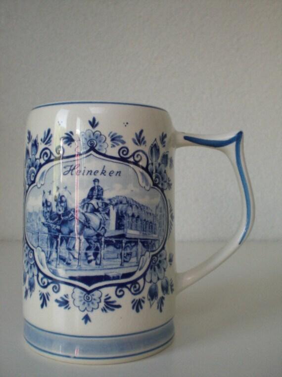 Vintage Delft Blue Handpainted Heineken Mug With Windmill And