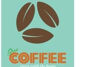 Retro Inspired Coffee Beans Print