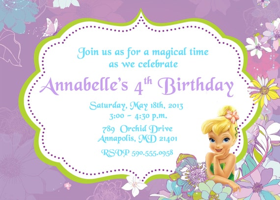 items similar to tinkerbell birthday party invitation  digital, Birthday invitations