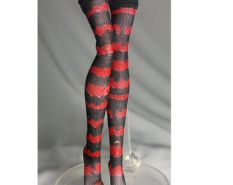 Dolls stockings for Monster high doll  Black and red  thick strips   MH025