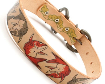 """Japanese 1inch width leather large dog collar Koi fish and Pine tree mean """"Good fortune"""" A2142"""