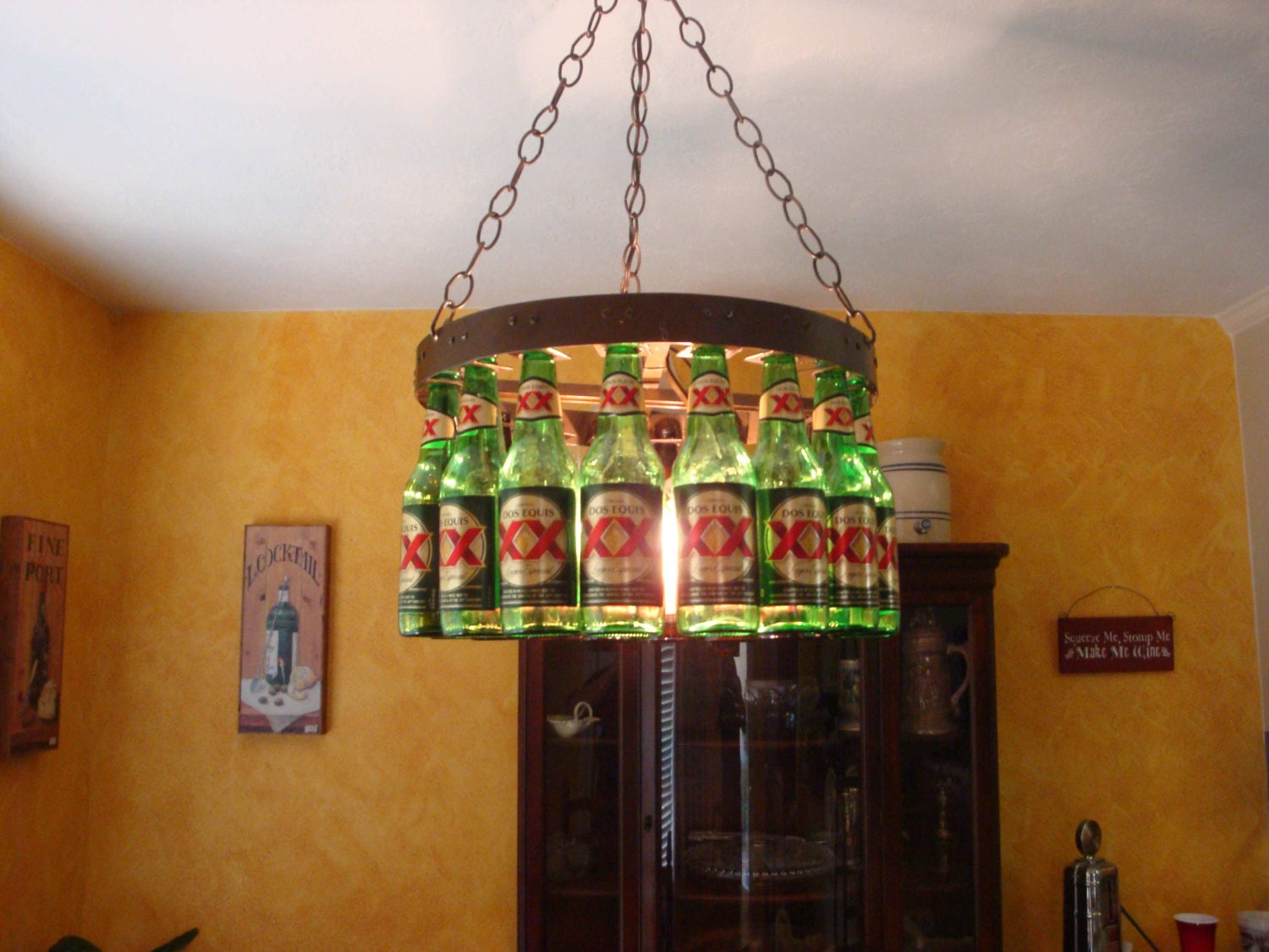 Beer bottle chandelier for Beer bottle picture frame
