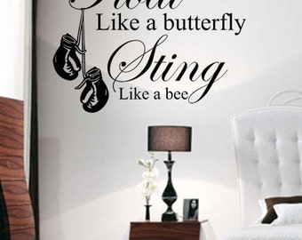 Muhammad Ali Float Like A Butterfly Wall Art - Vinyl Wall Art Sticker Decal - Living Room, Bedroom, Hall