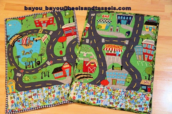 Cars Around Town Road Map Quilted Play Mat