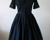 Original 50s 1950s early 60s vintage black shirt waist dress with detail