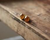 Vintage Yellow Rhinestone 9mm Post Earrings